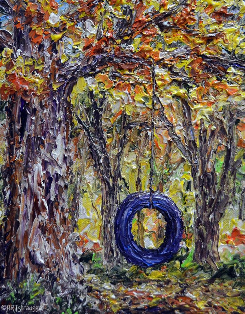 """Tire Swing Joys"" original fine art by Gloria Ester"