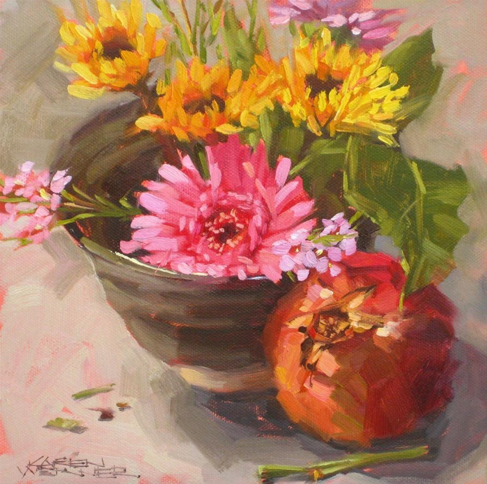"""Floral Bowl With Pom"" original fine art by Karen Werner"