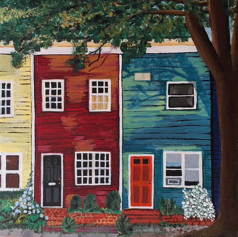 """Row Houses"" original fine art by Helen Kuhn"