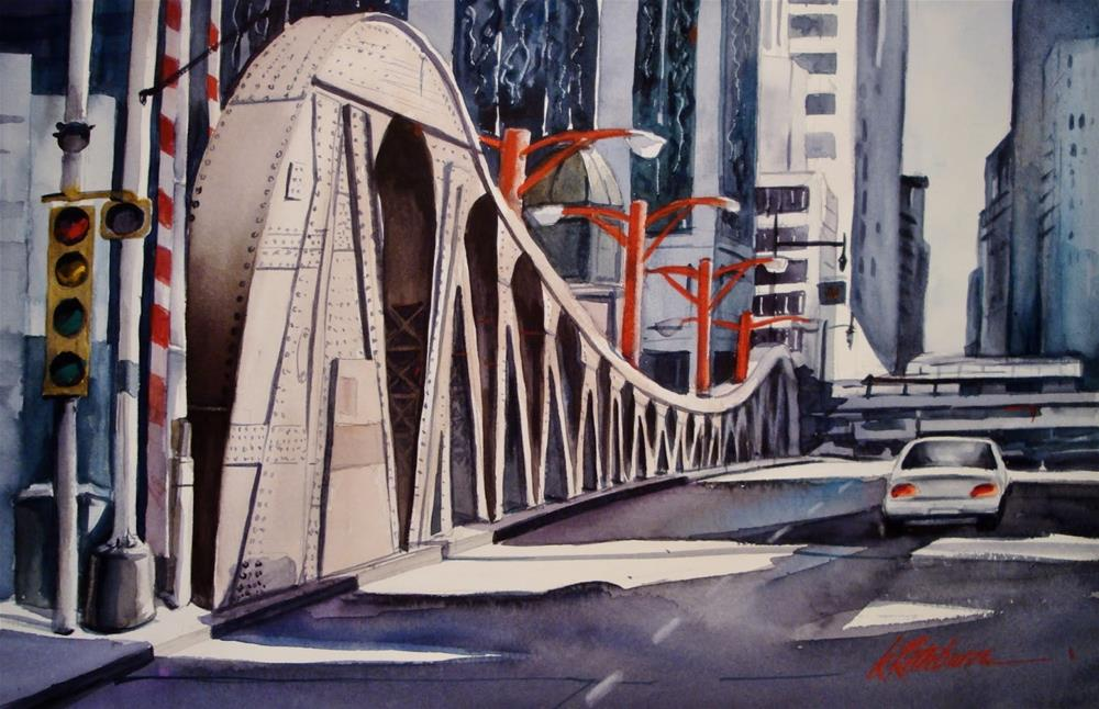 """Chicago Bridge"" original fine art by Kathy Los-Rathburn"