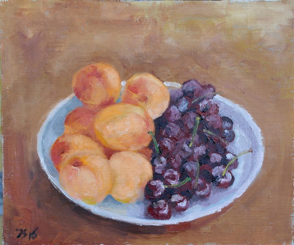 """apricots and cherries"" original fine art by Yuriy Semyonov"