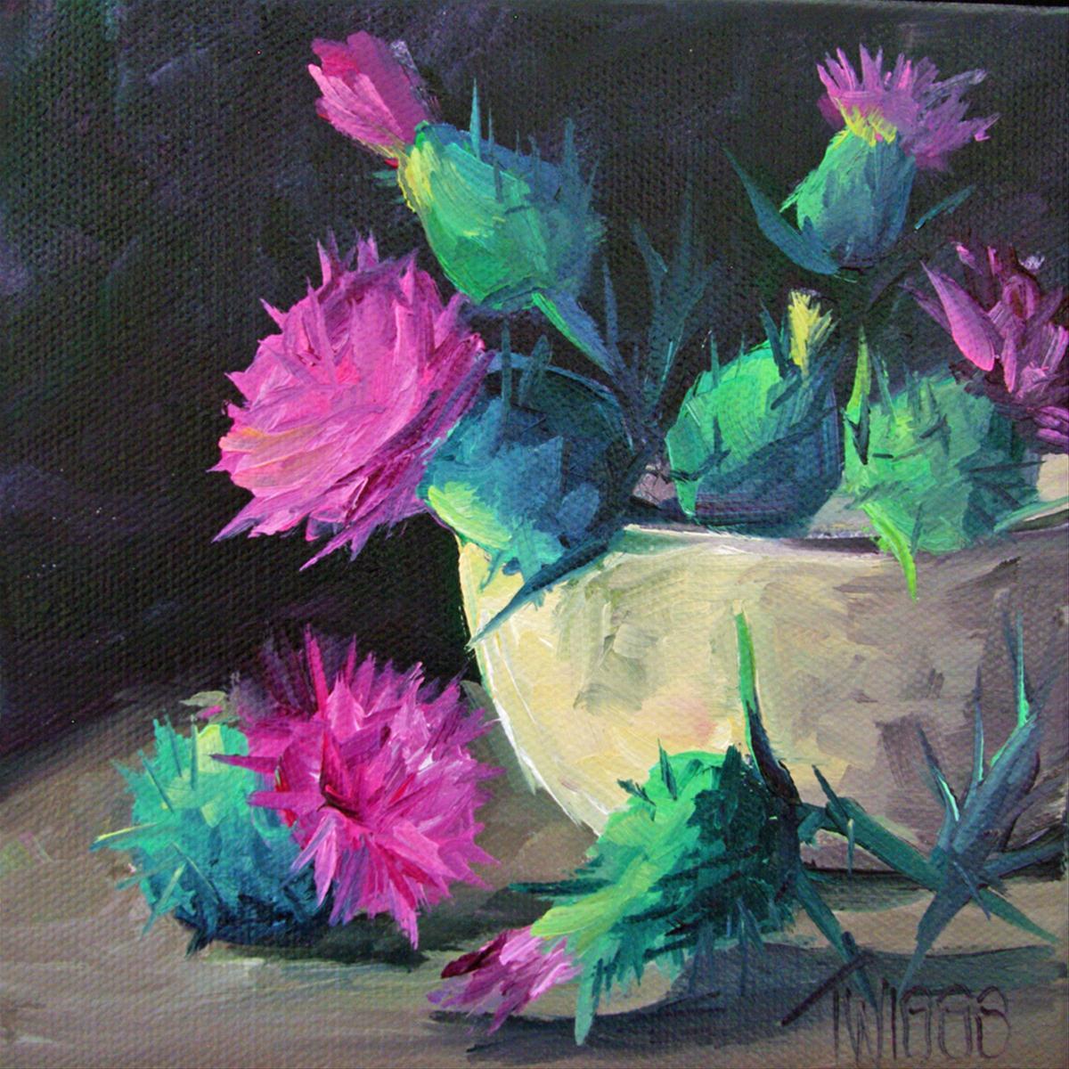 """Thistles 3"" original fine art by Lori Twiggs"