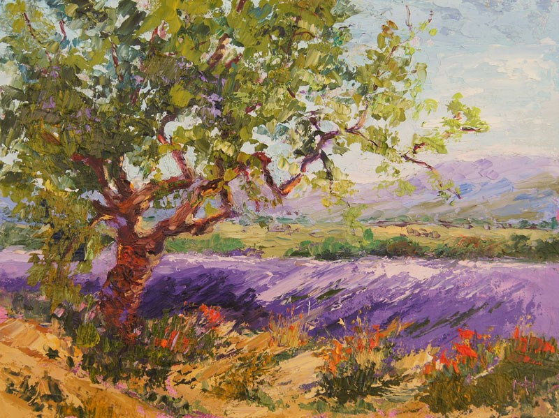 """Guarding the lavender palette knife painting"" original fine art by Marion Hedger"