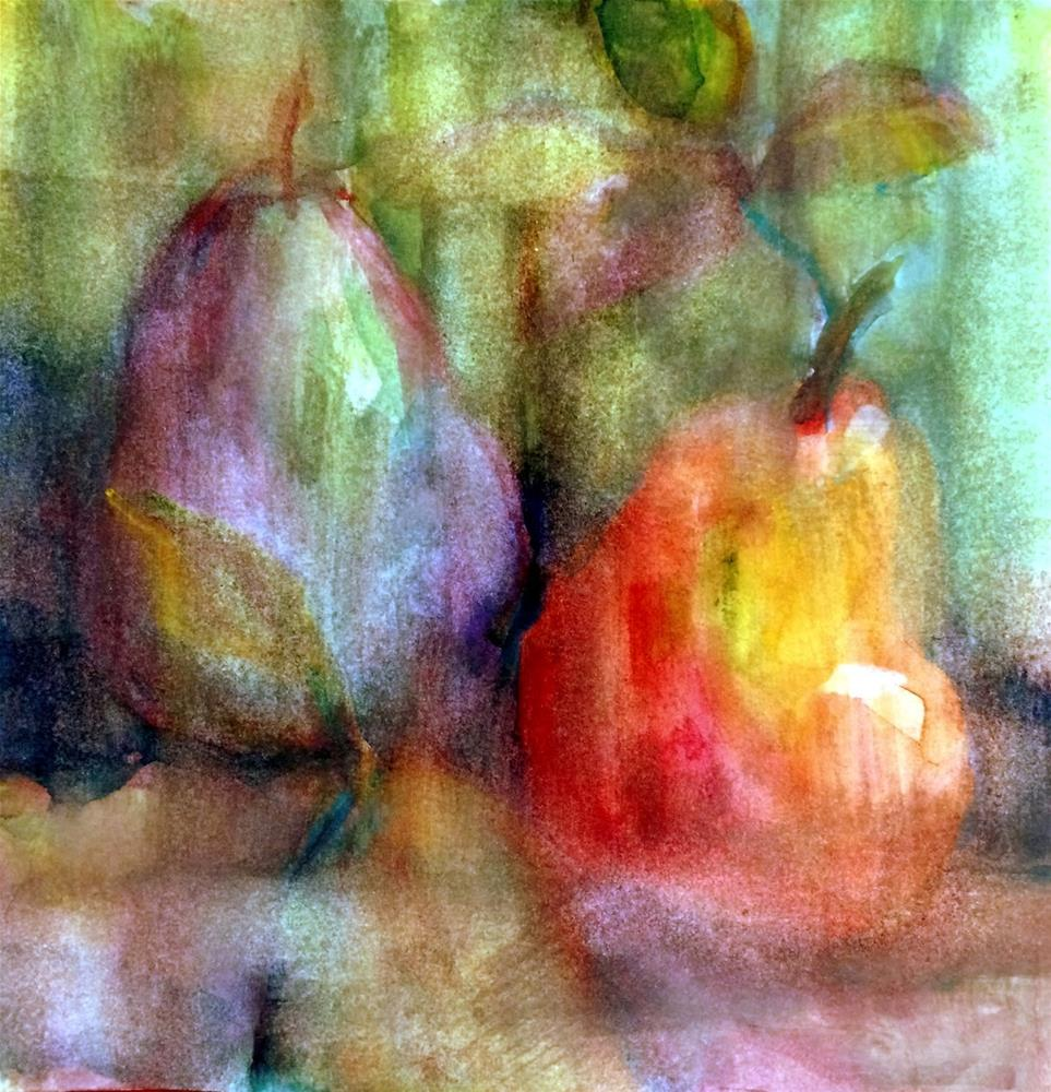 """Blurry Pears - Watercolor. Day 5"" original fine art by Julie Ford Oliver"