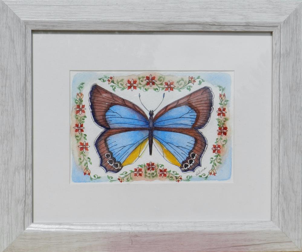"""Blue, Brown Butterfly"" original fine art by Velma Davies"