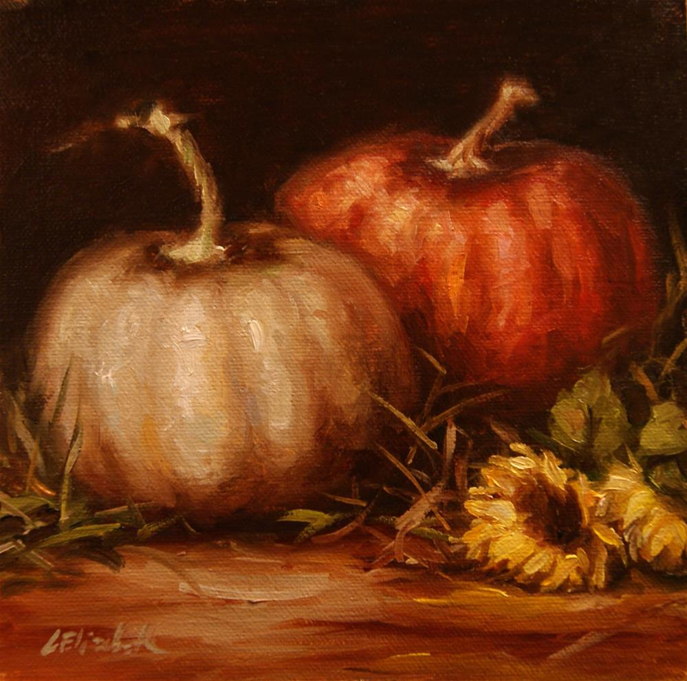 """Pumpkins and Sunflowers,  Oil on 6x6 Linen Panel"" original fine art by Carolina Elizabeth"