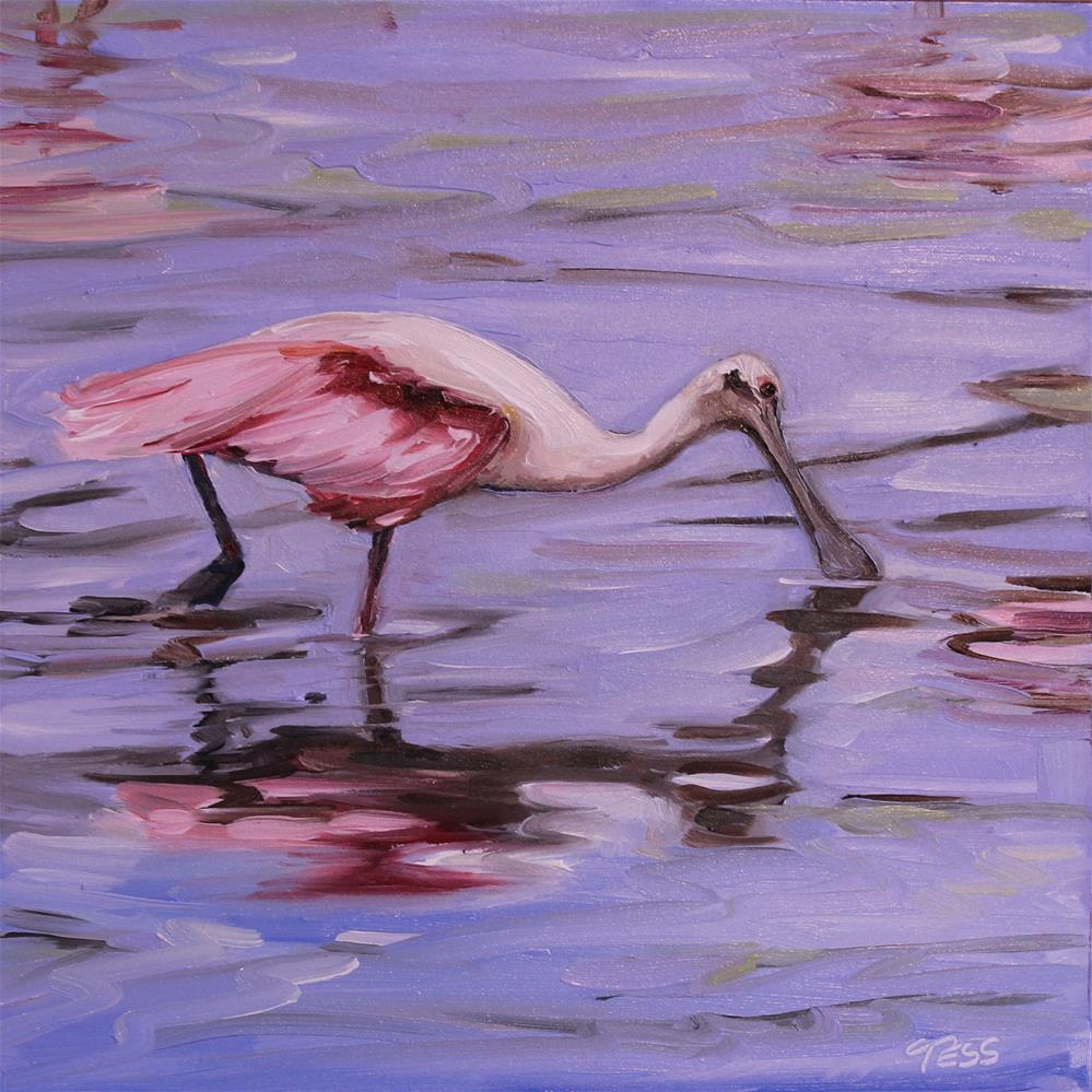 """Day 7- Roseate Spoonbill"" original fine art by Tess Lehman"