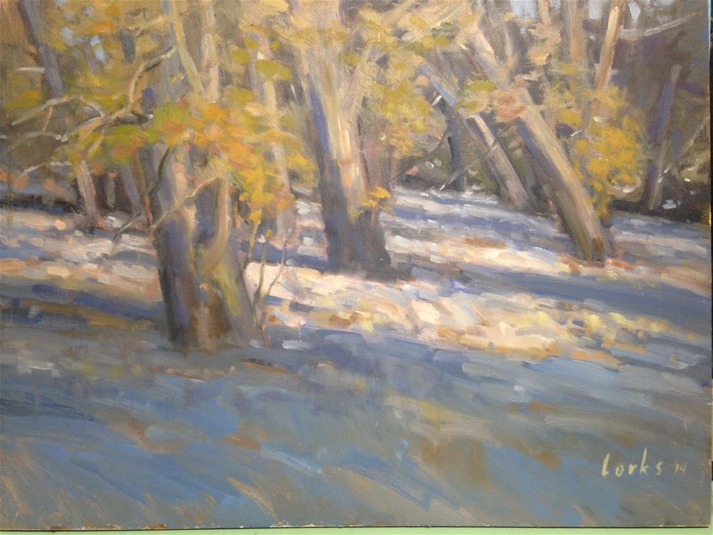 """Sycamores in a Dry Wash (en plein Air)"" original fine art by David Forks"