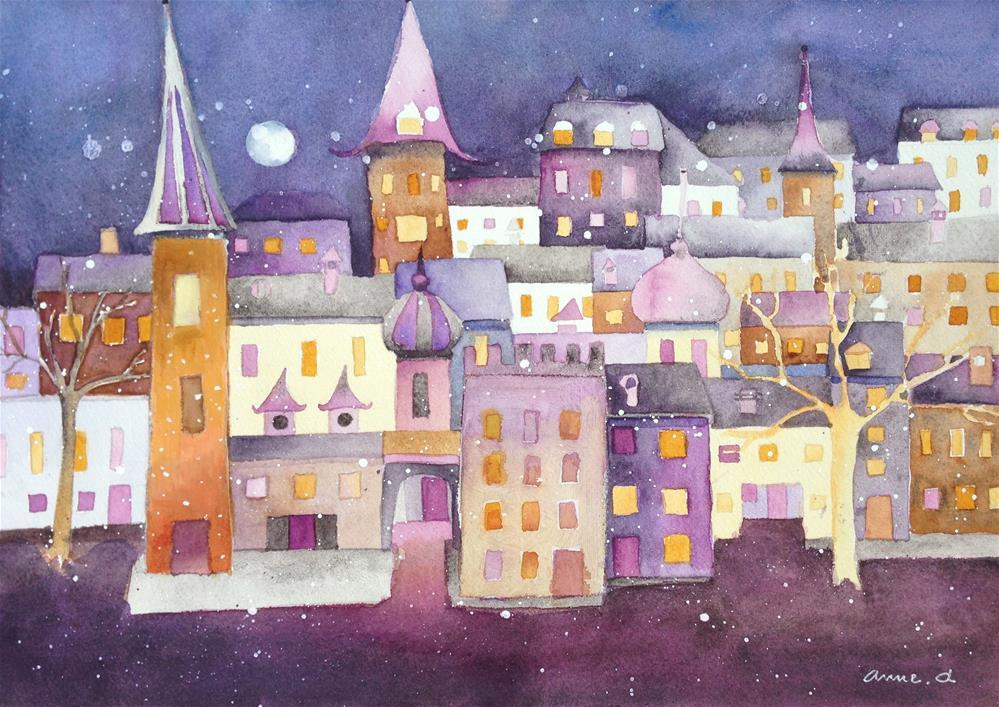 """Moon Rise"" original fine art by Anne Ducrot"