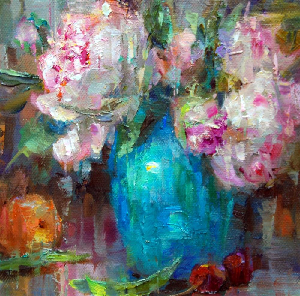 Turquoise and Peonies Squared! original fine art by Julie Ford Oliver