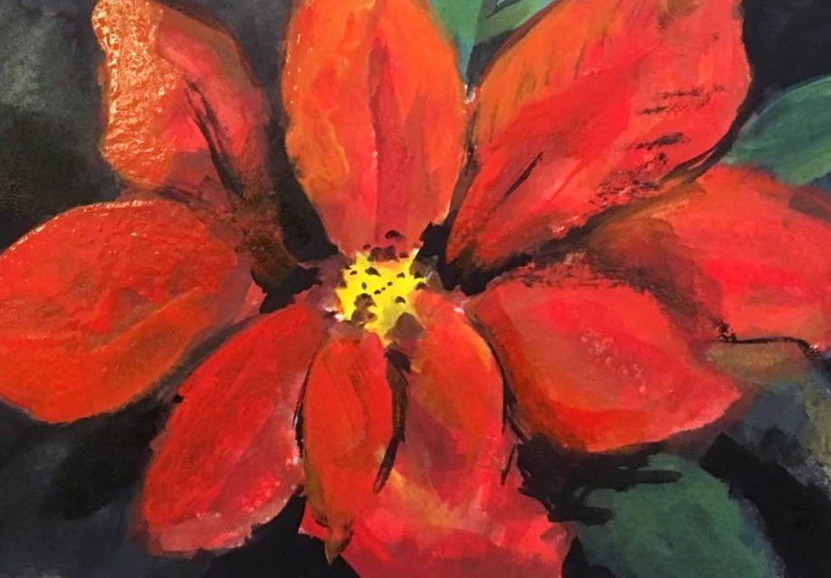 """Poinsettia"" original fine art by Susan Elizabeth Jones"