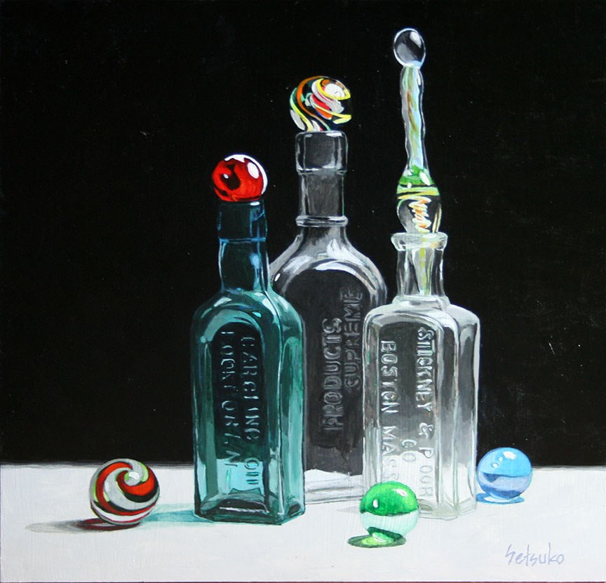 """Old Glass Marbles"" original fine art by Setsuko Lawson"