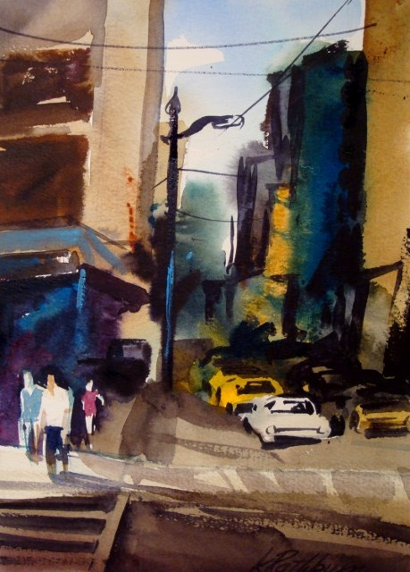 """Gritty City"" original fine art by Kathy Los-Rathburn"