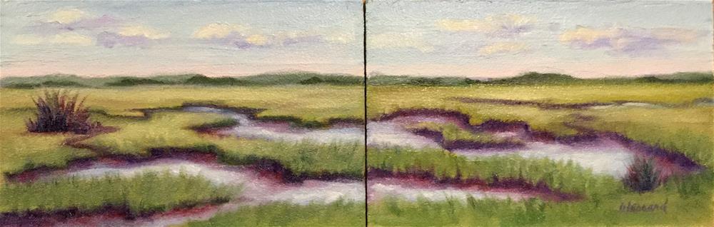 """Marshland Diptych  #1628-29"" original fine art by Dee Lessard"
