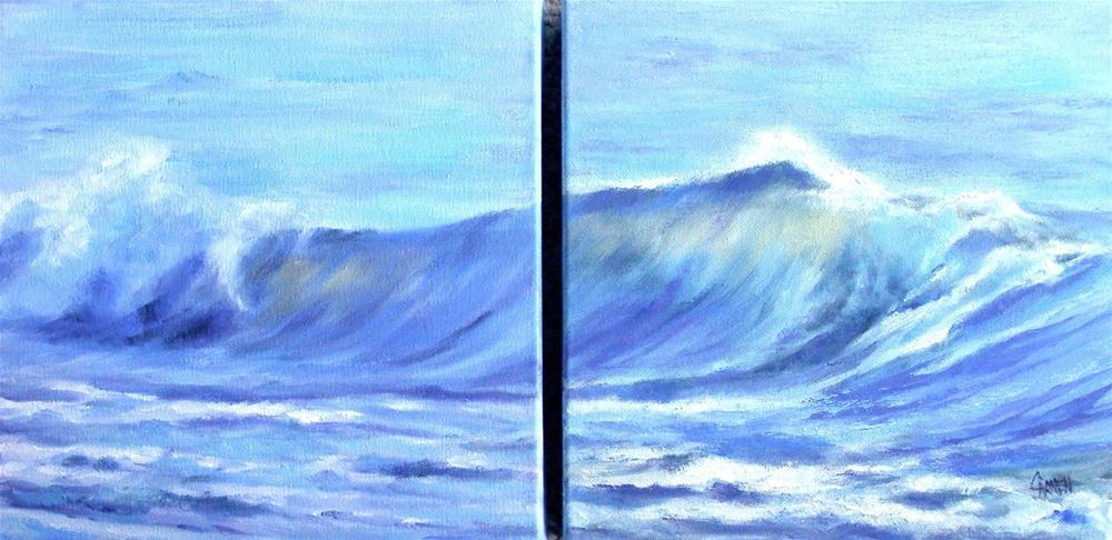 """Sealight Diptych, 20x10 Oil on Canvas"" original fine art by Carmen Beecher"