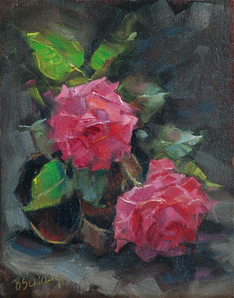 """Roses on a Tin Cup"" original fine art by Barbara Schilling"