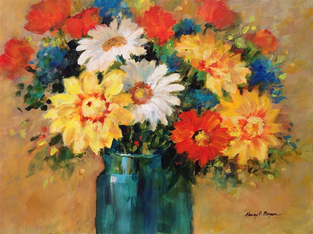 """Dahlias and Daisies"" original fine art by Nancy F. Morgan"