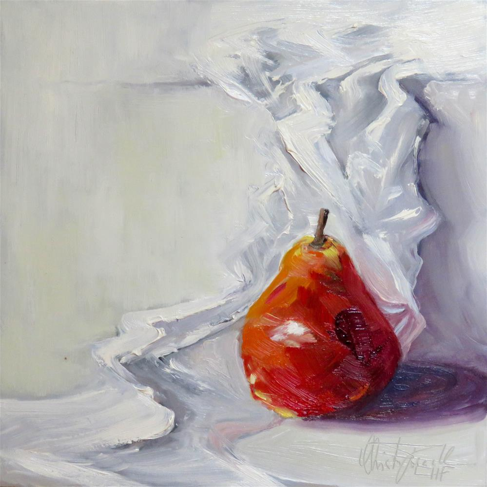 """Red Pear"" original fine art by Christa Friedl"