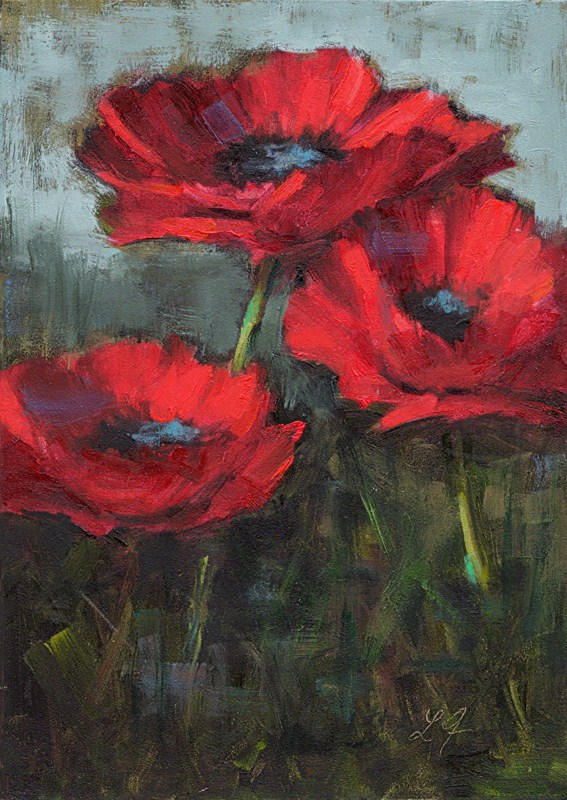 """Poppies in Red"" original fine art by Linda Jacobus"