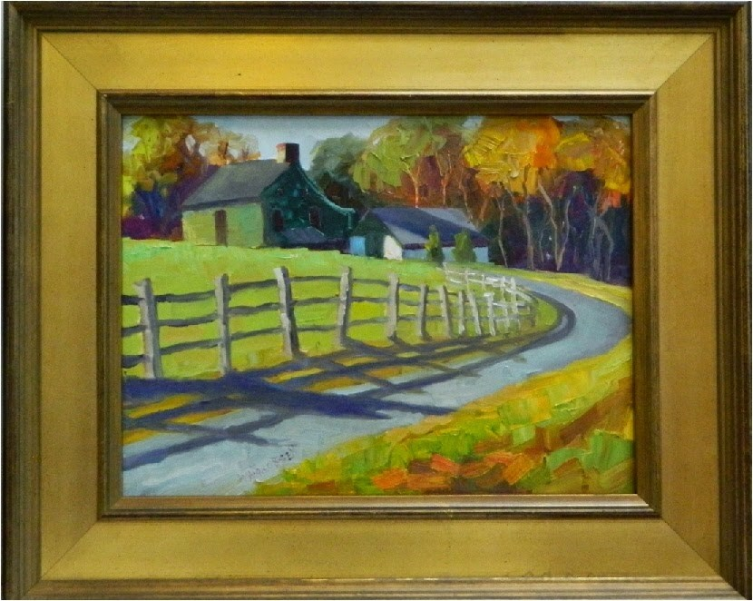 """October Morning, 12x16, oil on board, Chester County, Pennsylvania, Chadds Ford, Nielsen estate, f"" original fine art by Maryanne Jacobsen"