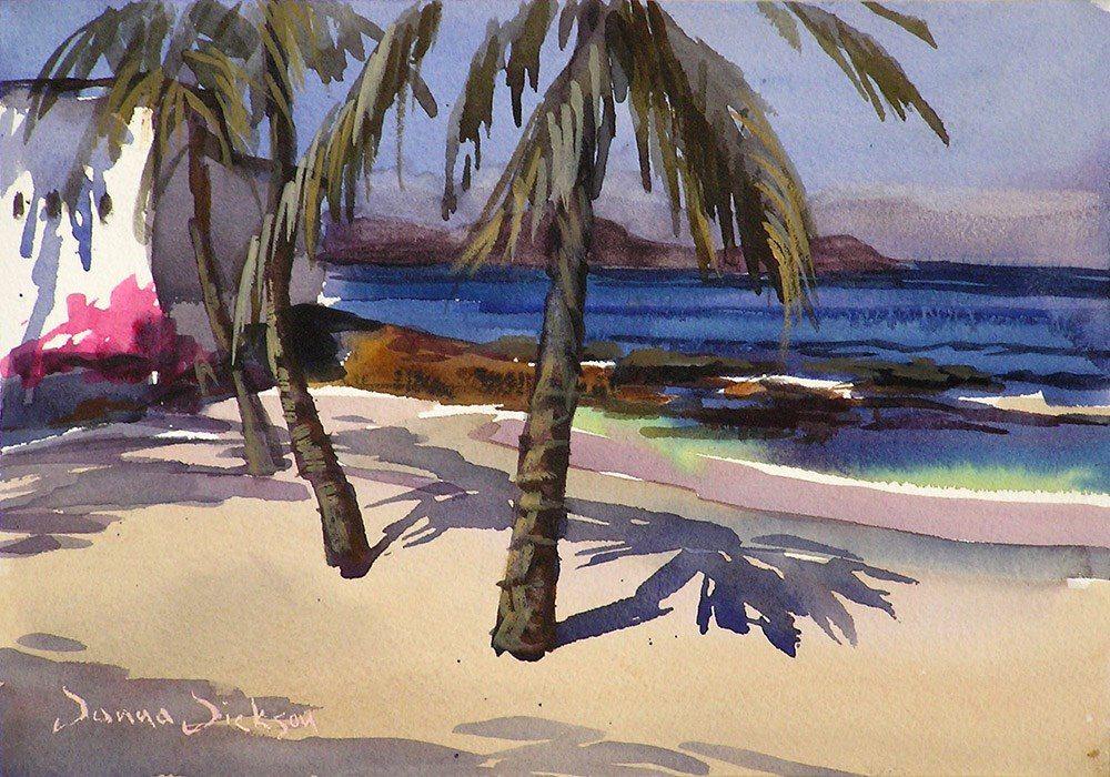 """Palms and Shadows at the beach"" original fine art by Donna Dickson"