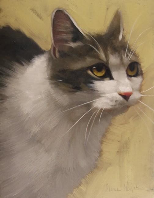 """""""Derby Cat painting by Diane Hoeptner"""" original fine art by Diane Hoeptner"""