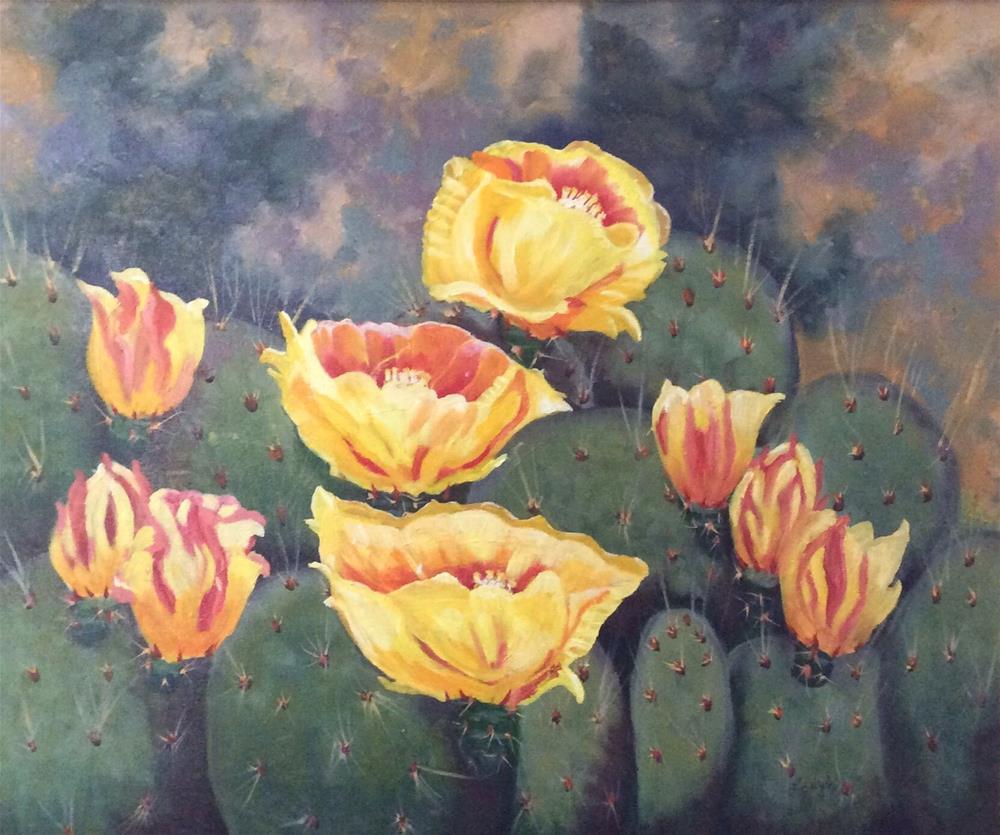 """Prickly Pear in Bloom"" original fine art by Charlotte Lough"