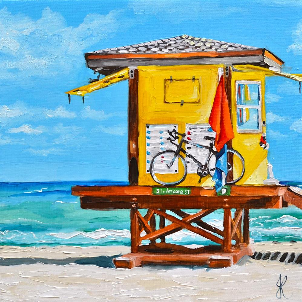 """Lifeguard Hut"" original fine art by Jacinthe Rivard"
