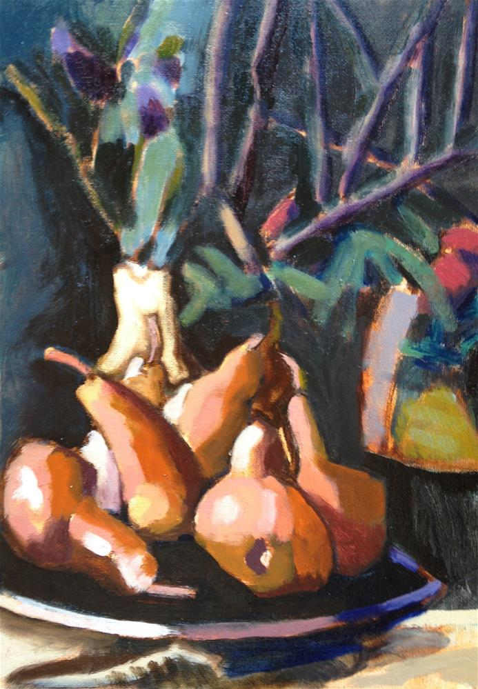 """Puppy Pears"" original fine art by Pamela Hoffmeister"
