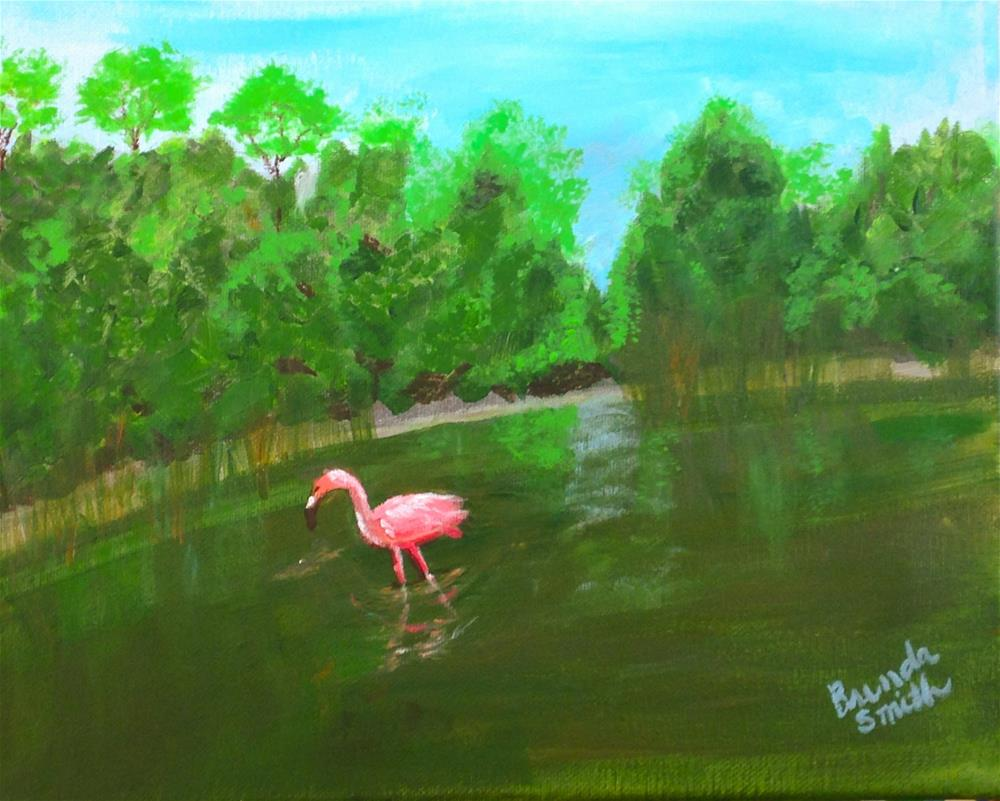 """Wading Flamingo"" original fine art by Brenda Smith"