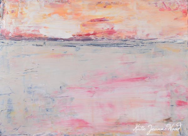 """Pink and yellow landscape painting. Art by Katie Jeanne. Sunrise"" original fine art by Katie Jeanne Wood"