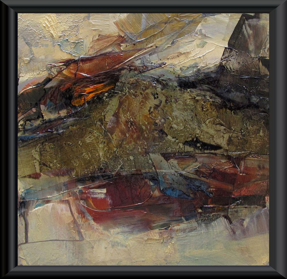 """ABSTRACT LANDSCAPE Original ABSTRACT Art 4X4 Painting OIL"" original fine art by Colette Davis"