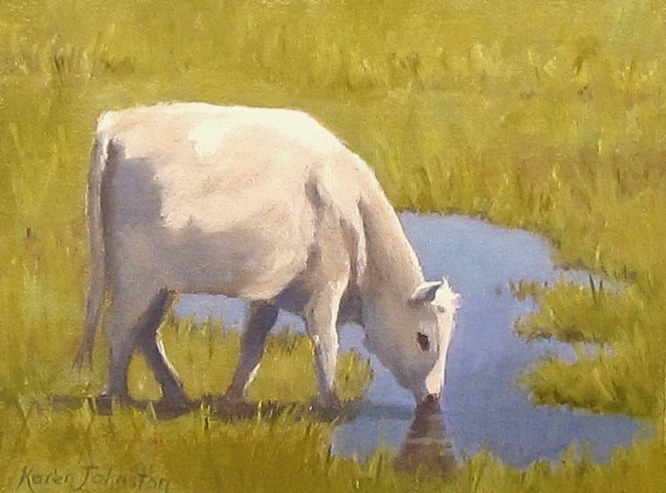 """Fed and Watered"" original fine art by Karen Johnston"