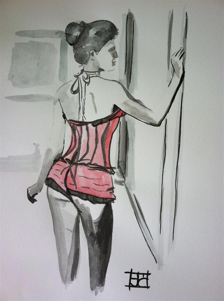 """watercolor woman in pink"" original fine art by Arron McGuire"
