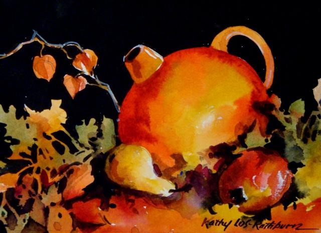 """Tangerine Tango Jug"" original fine art by Kathy Los-Rathburn"