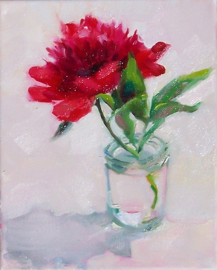 """Red Peony,still life,oil on canvas,10x8,price$250"" original fine art by Joy Olney"