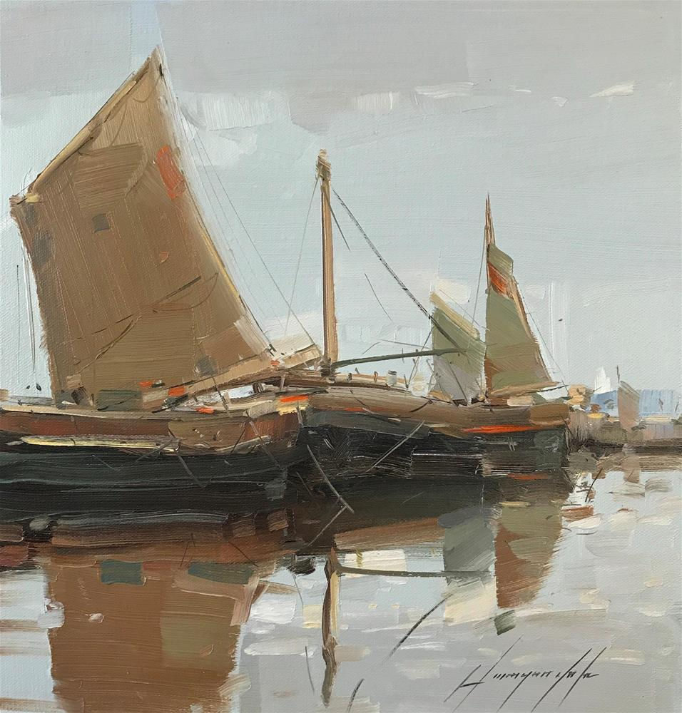 """""""Sail Boats, Original oil Painting, One of a  kind"""" original fine art by V Y"""