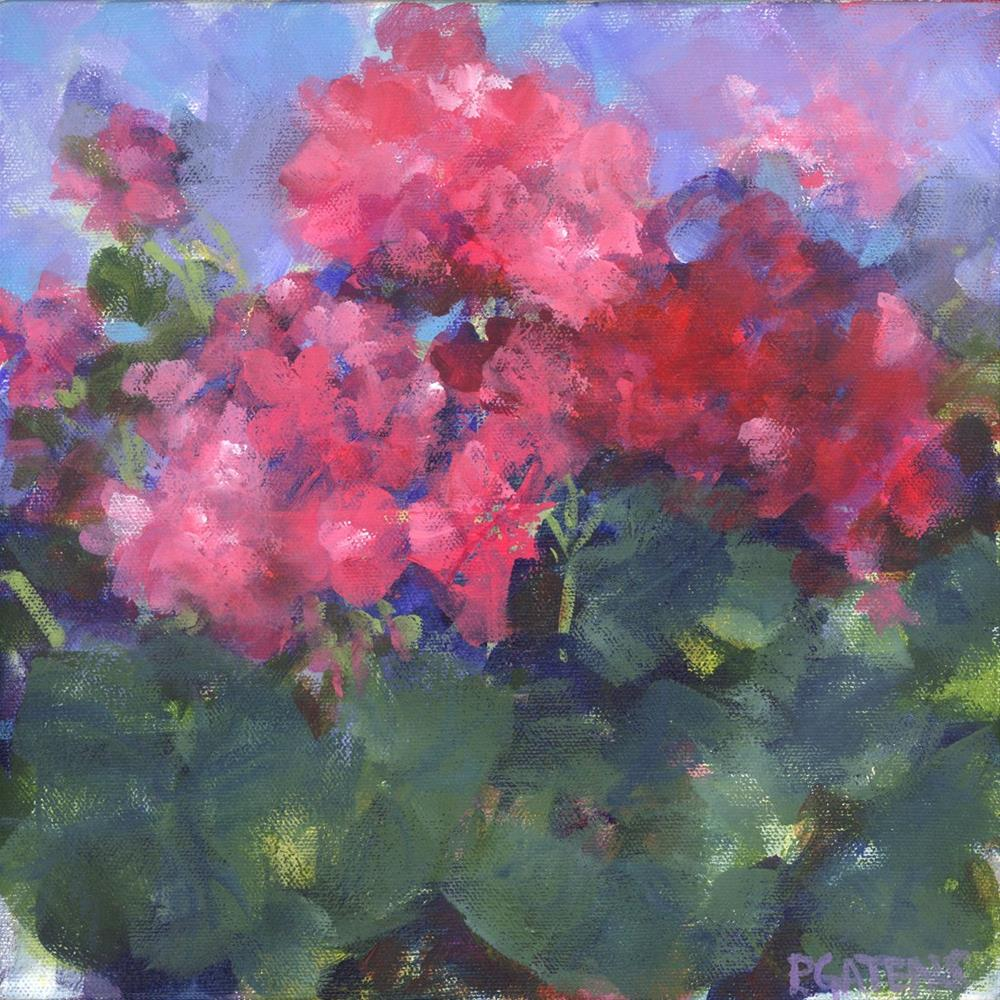"""Ruby Geraniums"" original fine art by Pamela Gatens"
