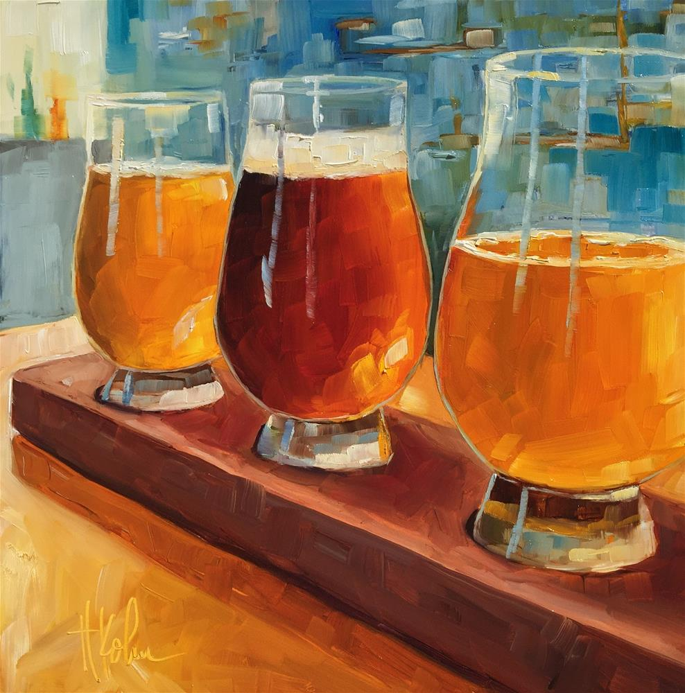 """Beer Flight"" original fine art by Hallie Kohn"