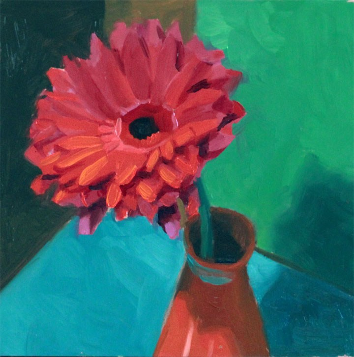 """One Pink Daisy"" original fine art by Nealy May Riley"