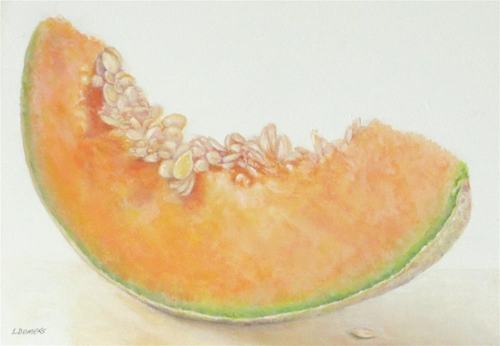 """Cantaloupe Section"" original fine art by Linda Demers"