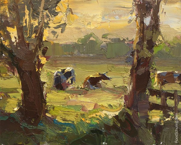 """Painting Cows in Evening Sun"" original fine art by Roos Schuring"