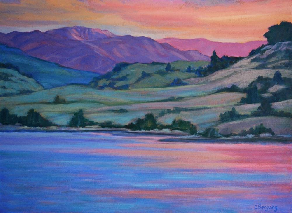 """Sunset on Dailey's Lake"" original fine art by Cathy Bergsing"