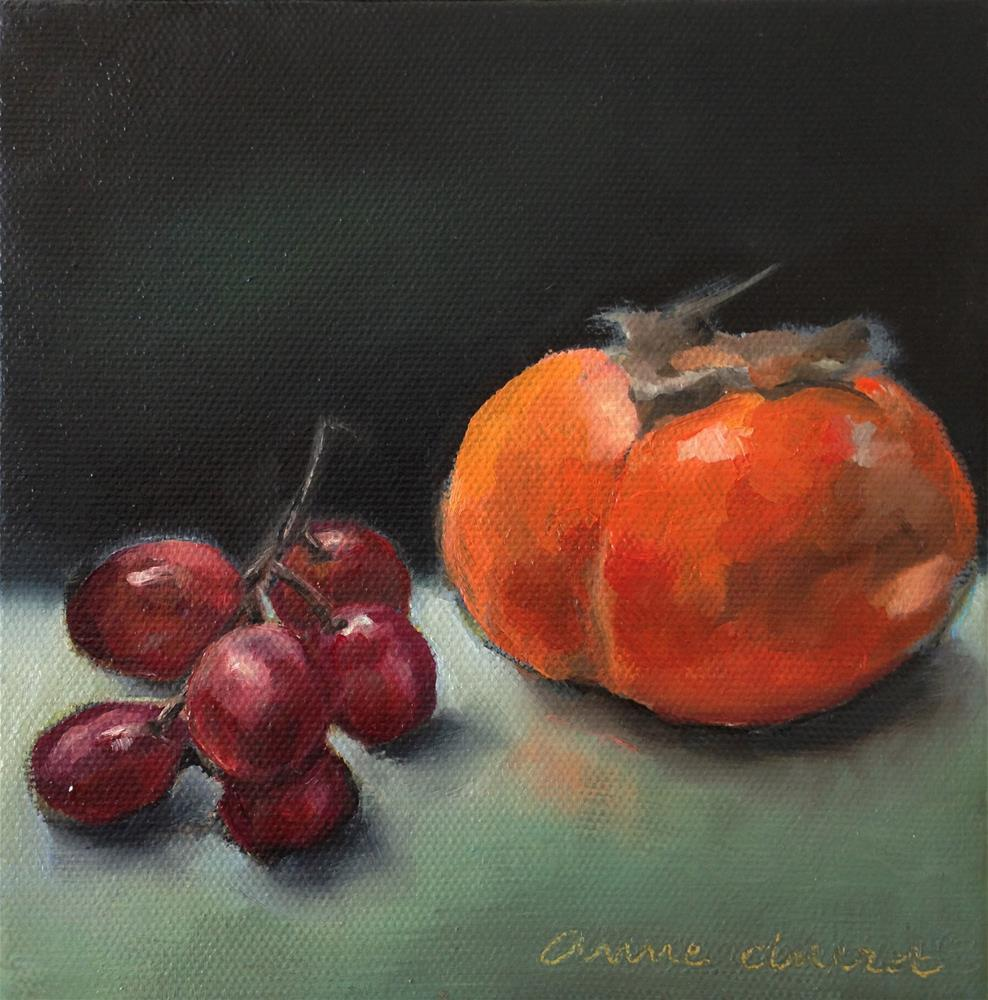 """Persimmon & Grape"" original fine art by Anne Ducrot"