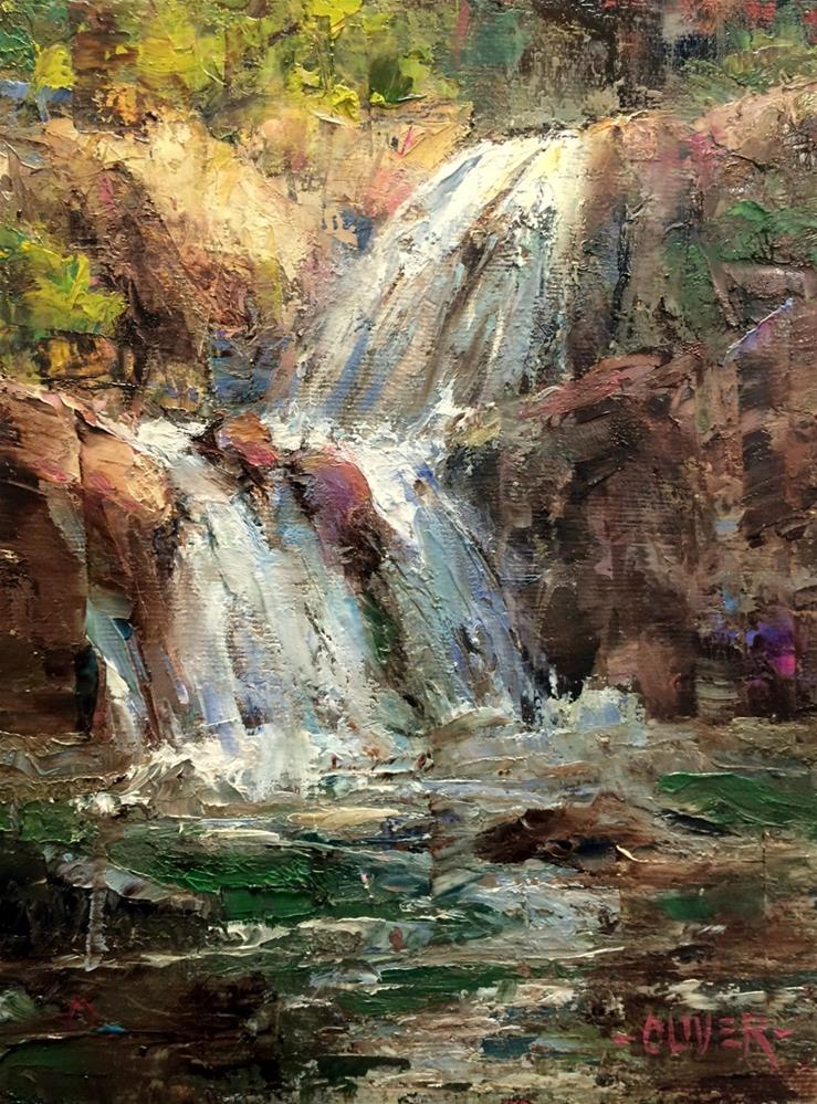 """Falls At Yellowstone"" original fine art by Julie Ford Oliver"