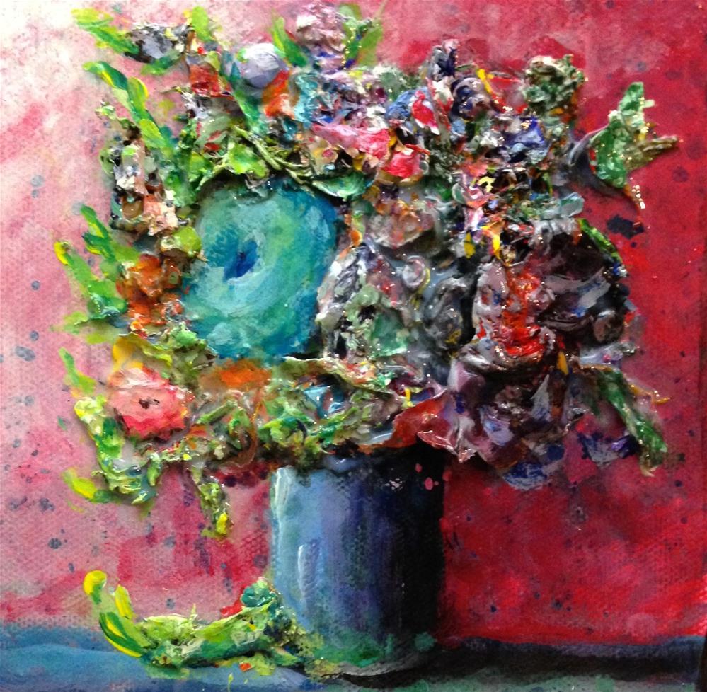 """Blue Green Flower"" original fine art by Debbie Yacenda"