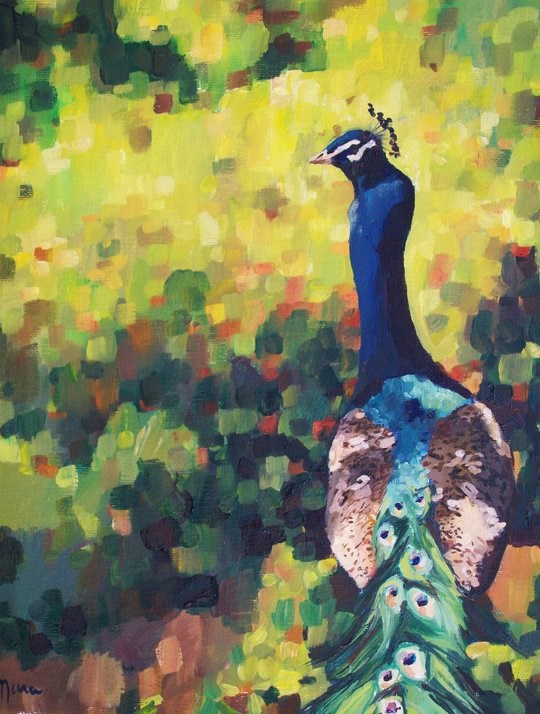 """Peacock Mosaic"" original fine art by Nava Judith"