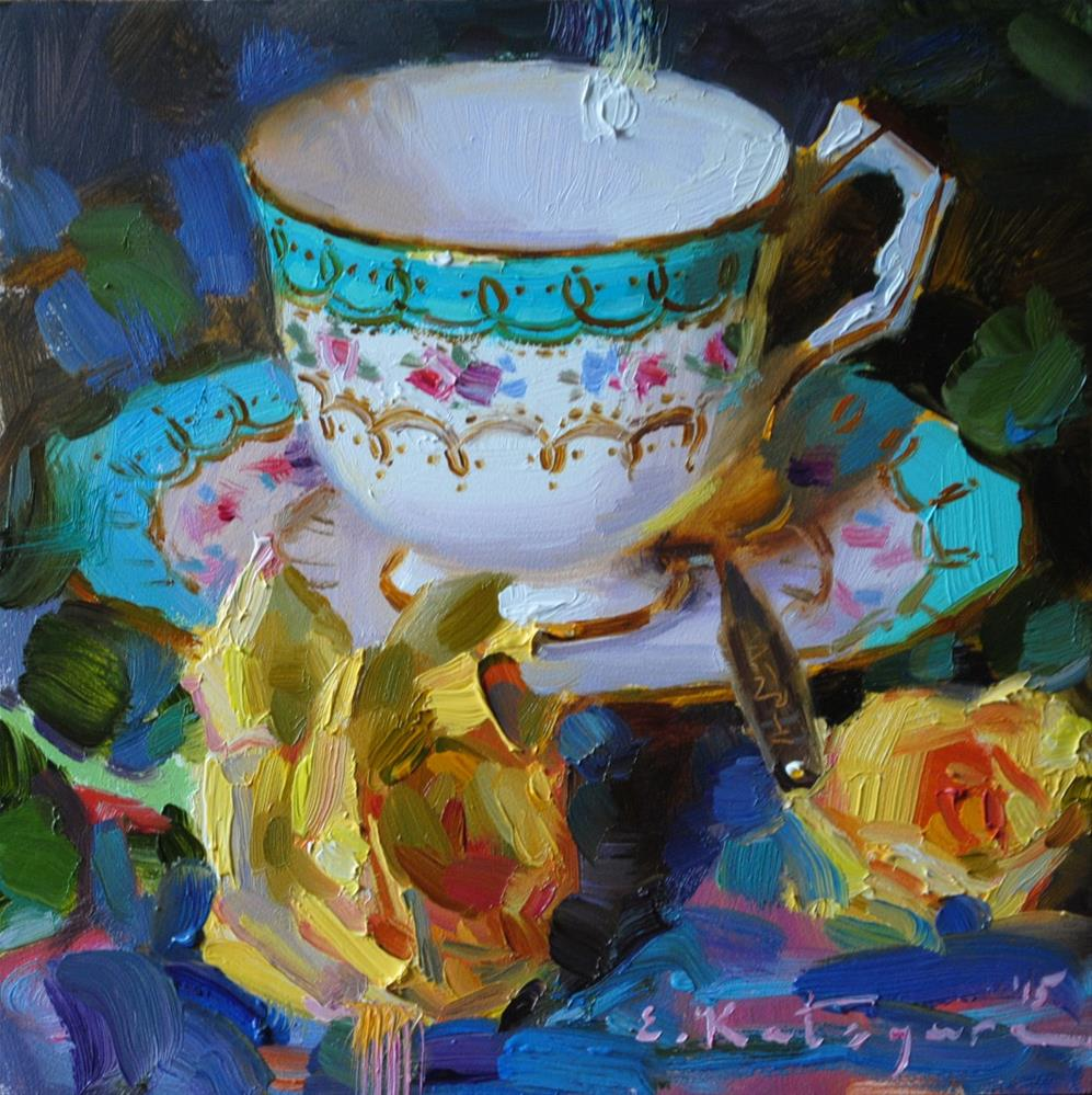 """Turquoise Teacup and Roses"" original fine art by Elena Katsyura"