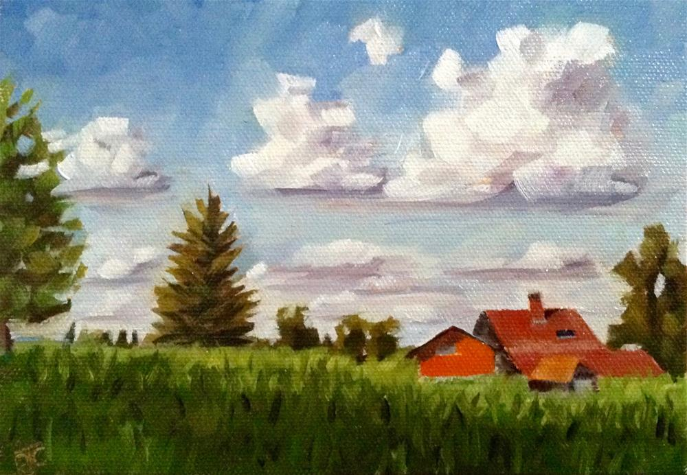 """Watching Clouds"" original fine art by Bobbie Cook"