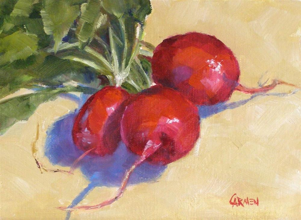 """Still Life, Radish Bouquet, 8x6 Oil on Canvas Panel"" original fine art by Carmen Beecher"